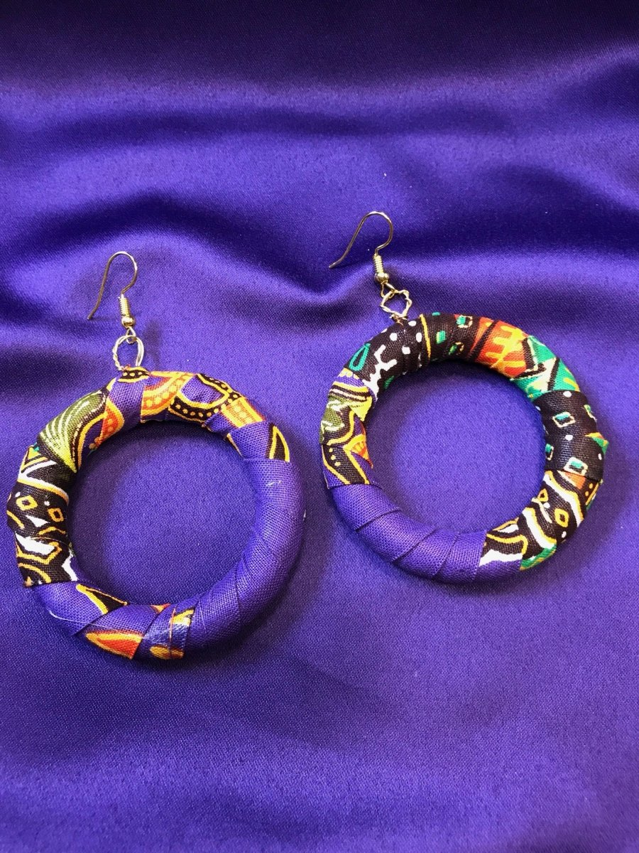 African Earrings in Purple Ankara Print - Continent Clothing