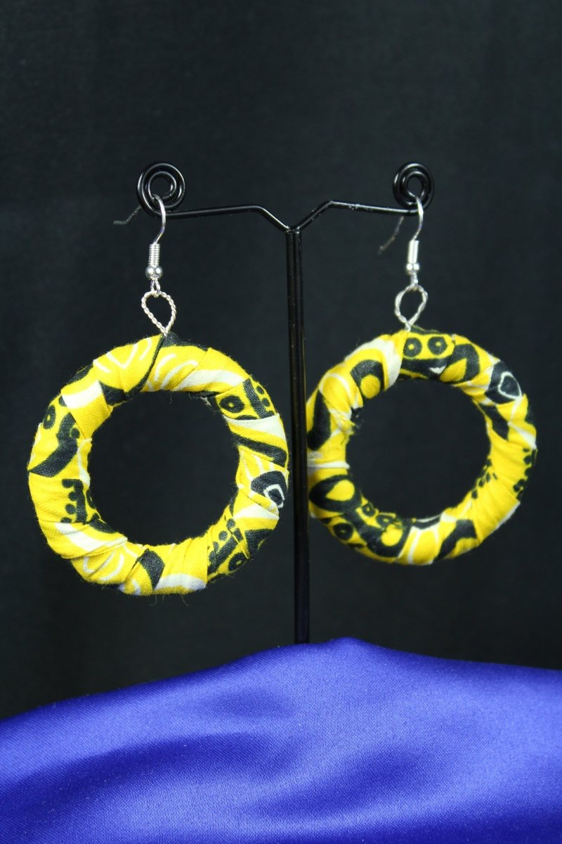 African Earrings in Yellow Ankara - The Continent Clothing