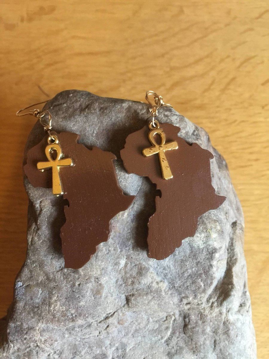 African Earrings made with Recycled Wood - Continent Clothing