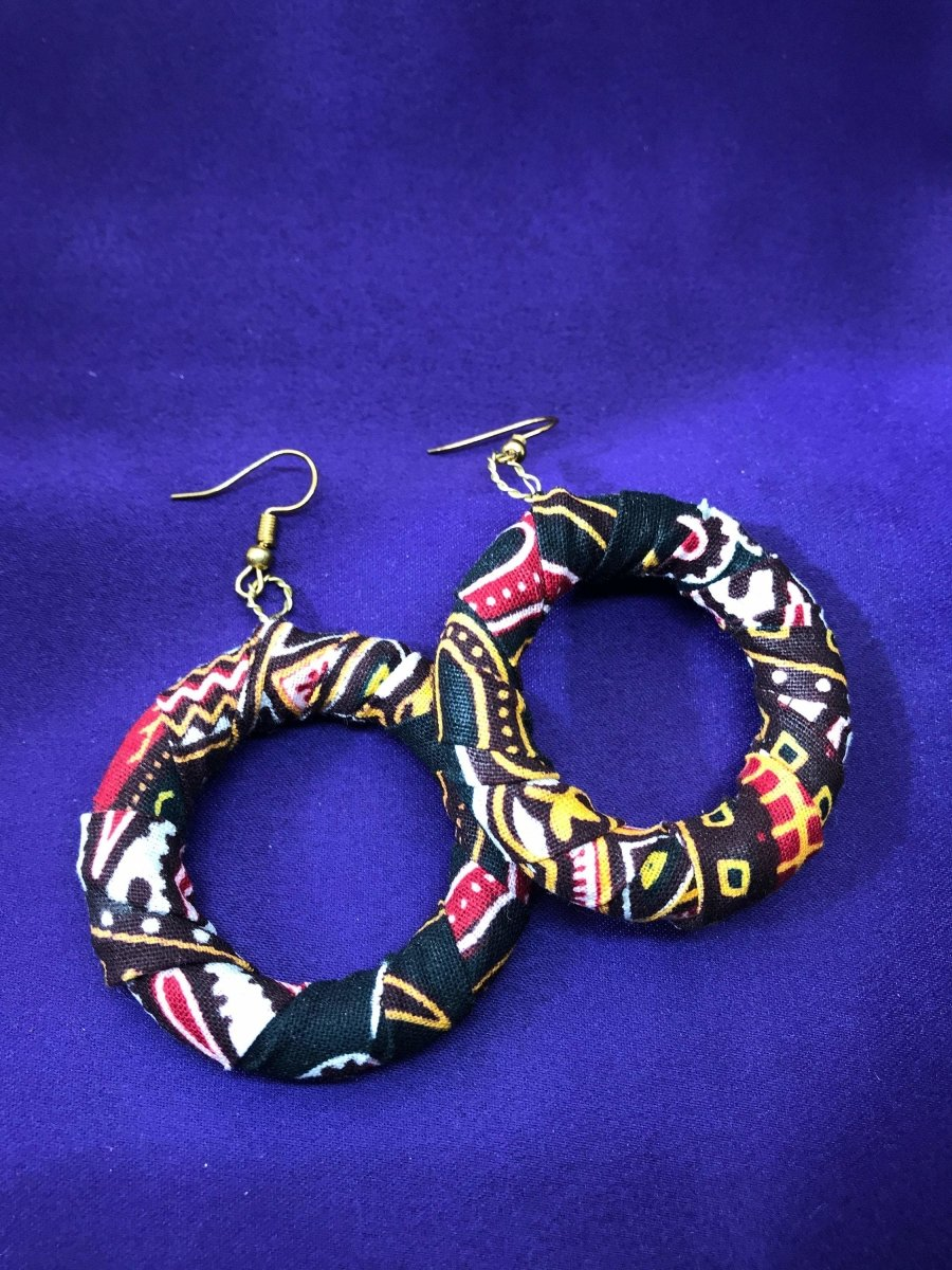 African Fabric Hoops in Black Dashiki Print - Continent Clothing