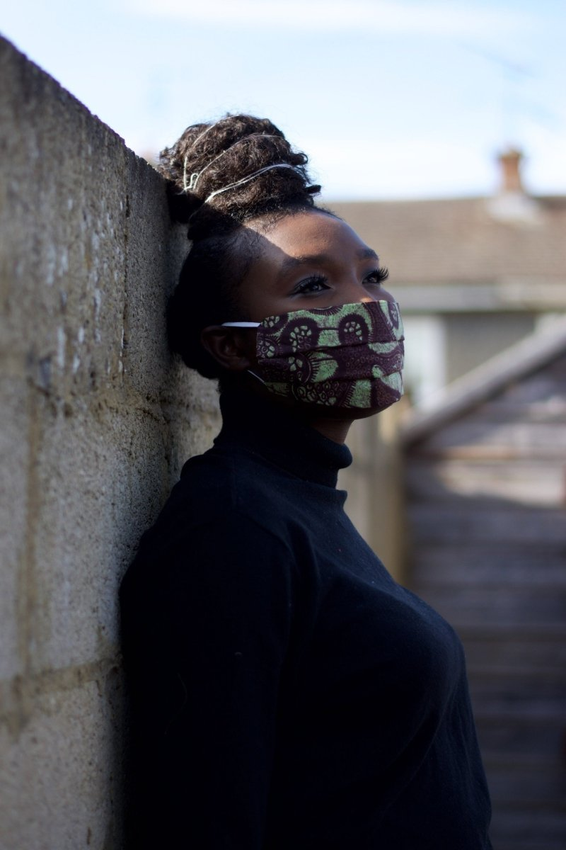 African Face Mask in Brown Ankara - The Continent Clothing