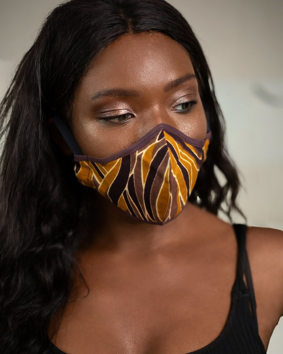African Face Mask in Orange Zebra Print - Continent Clothing