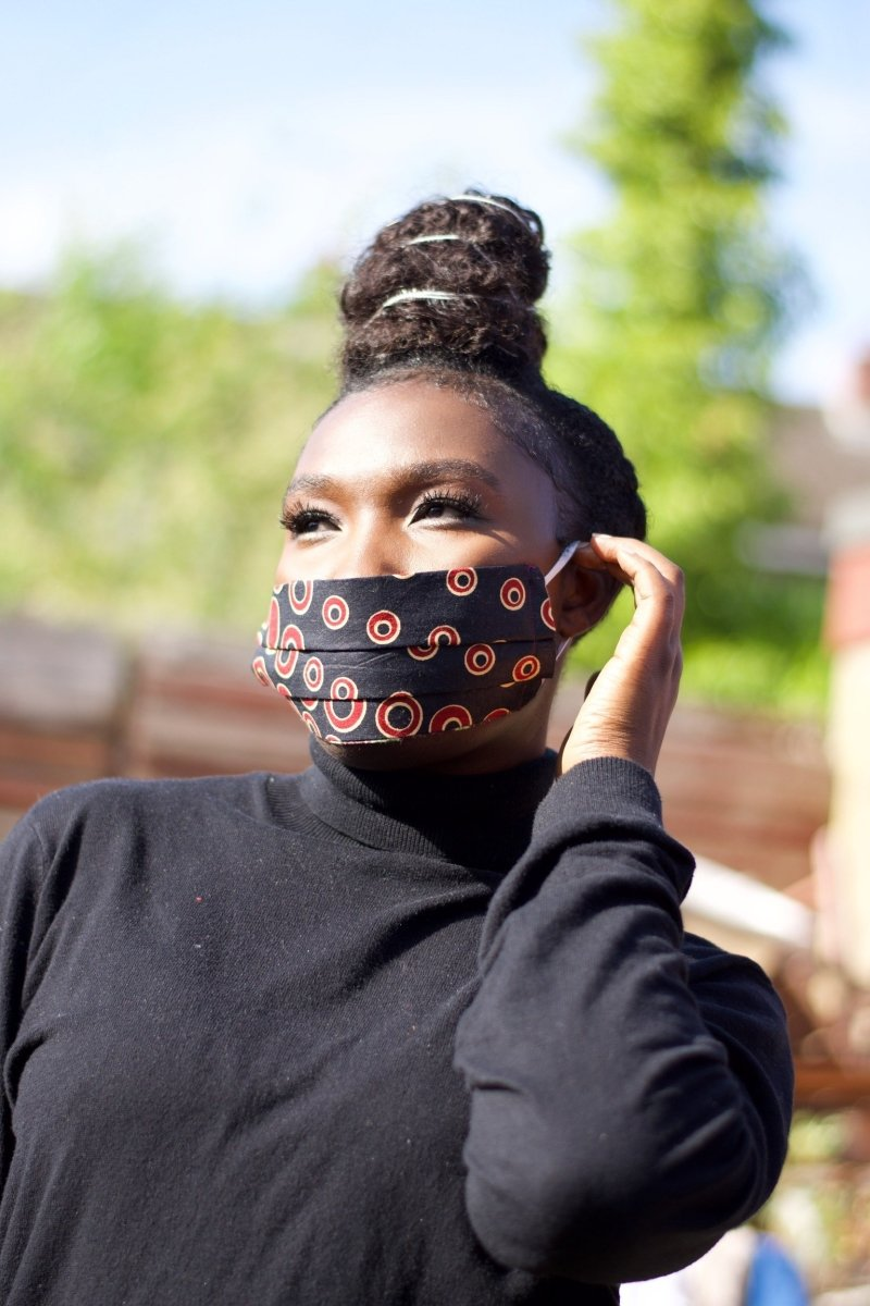 African Face Mask in Red Ankara - Continent Clothing