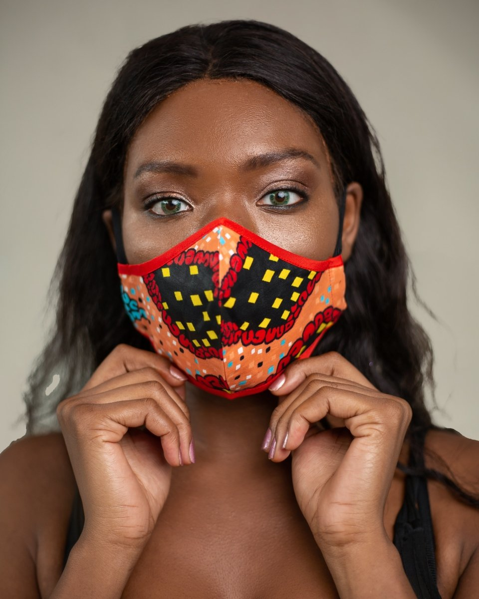 African Face Mask in Red & Yellow - Continent Clothing