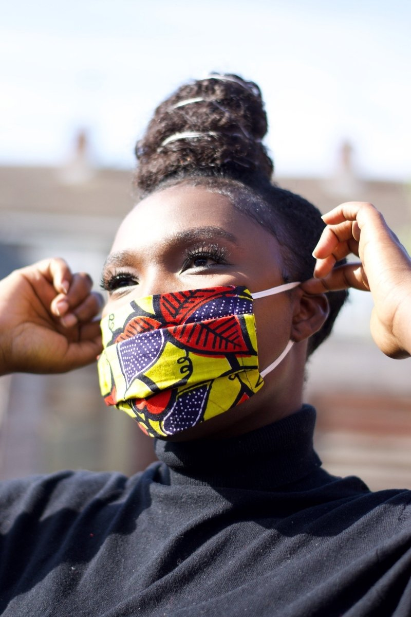 African Face Mask in Yellow Ankara - Continent Clothing