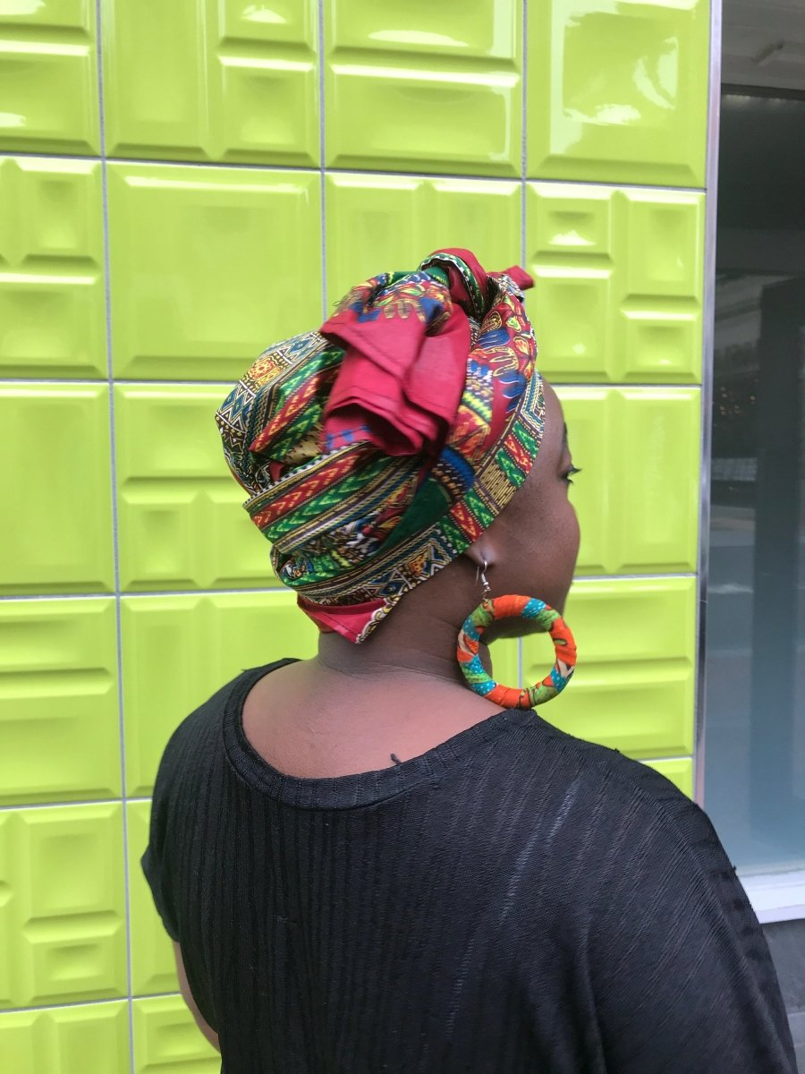 African Head Wrap in Blue Dashiki - The Continent Clothing