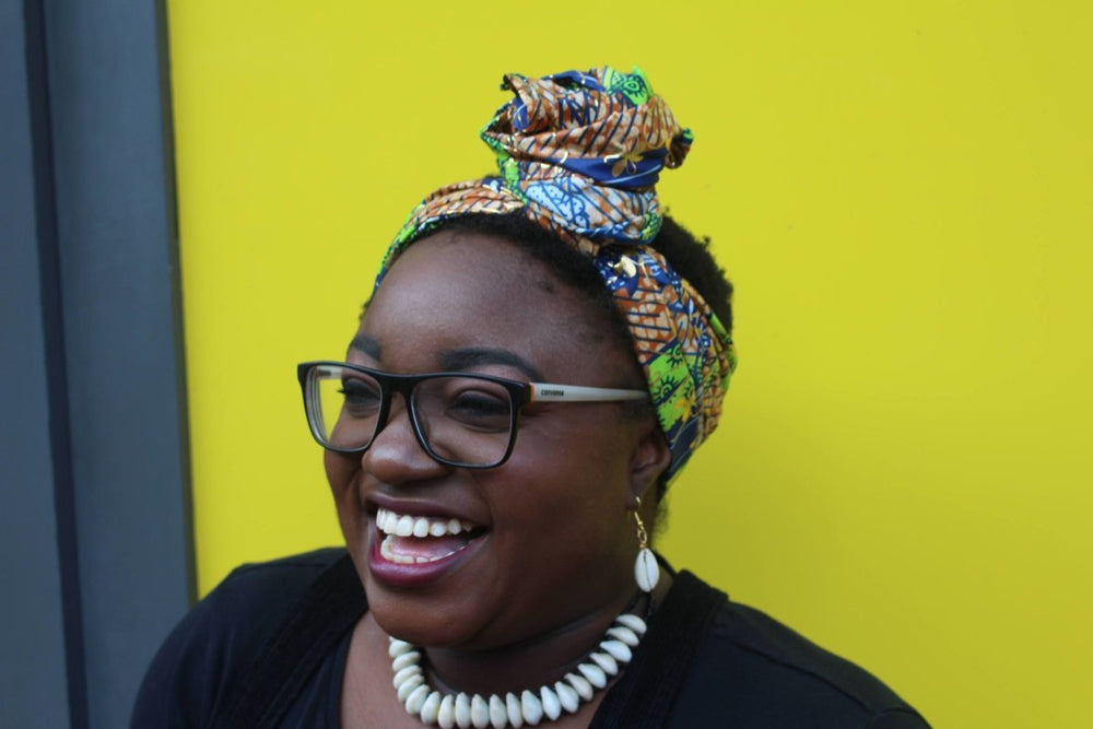 African Head Wrap in Gold Ankara - Continent Clothing
