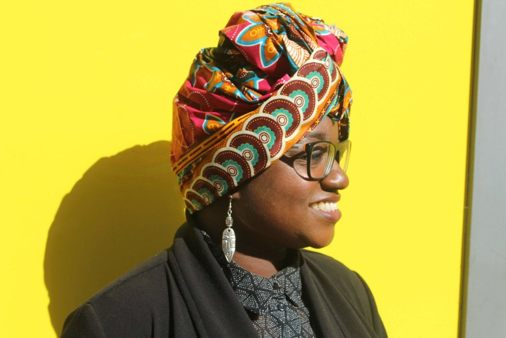 African Head Wrap in Green Ankara - The Continent Clothing