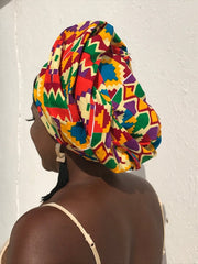 African Head Wrap in Orange Kente - Continent Clothing