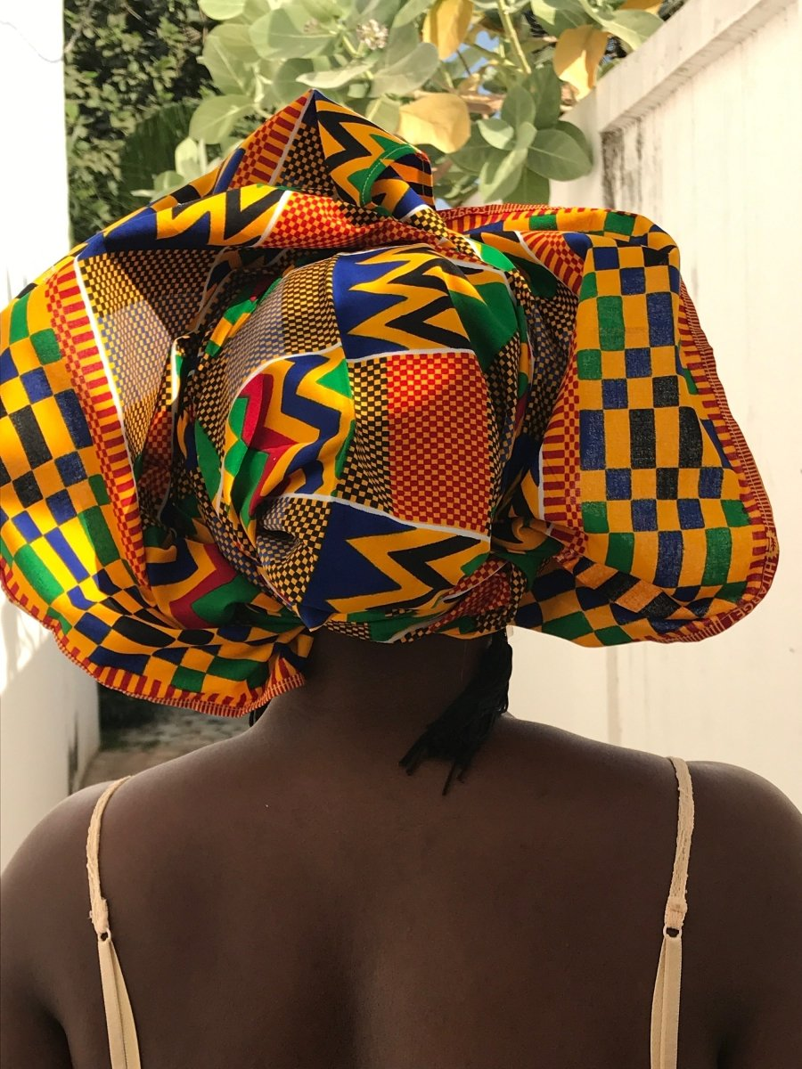 African Head Wrap in Orange Yellow Kente - Continent Clothing