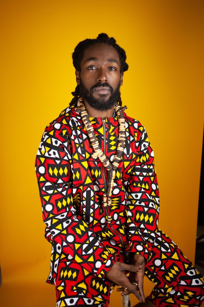African Hooded jacket In Electric Red Sumakaka - The Continent Clothing