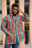 African Hooded Jacket In Pink Ankara - Continent Clothing