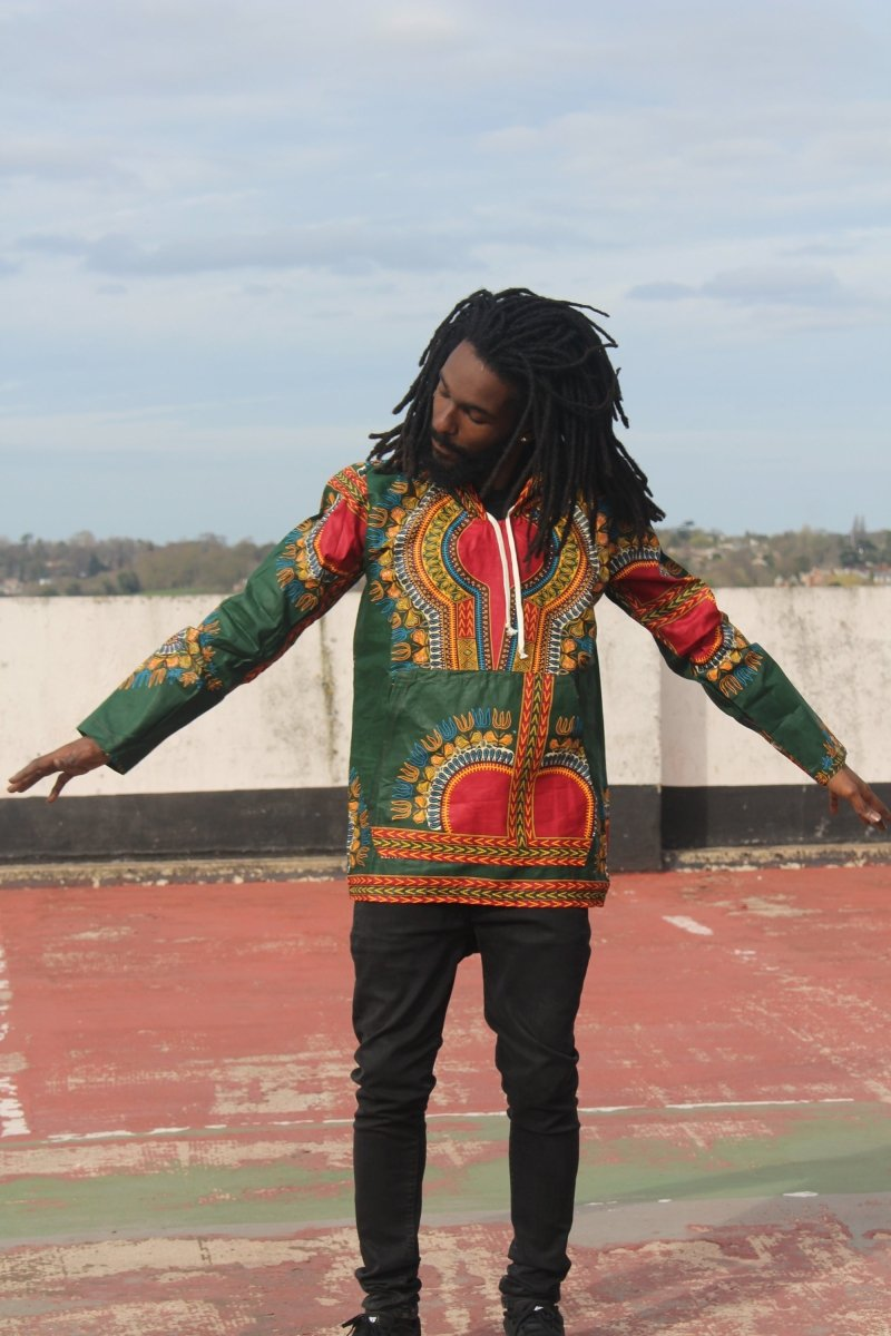 African Hoodie in Green Dashiki Print - Festival Hoodie - Continent Clothing