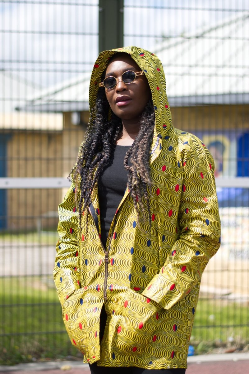 African Hoodie In Optical Illusion Print - Continent Clothing