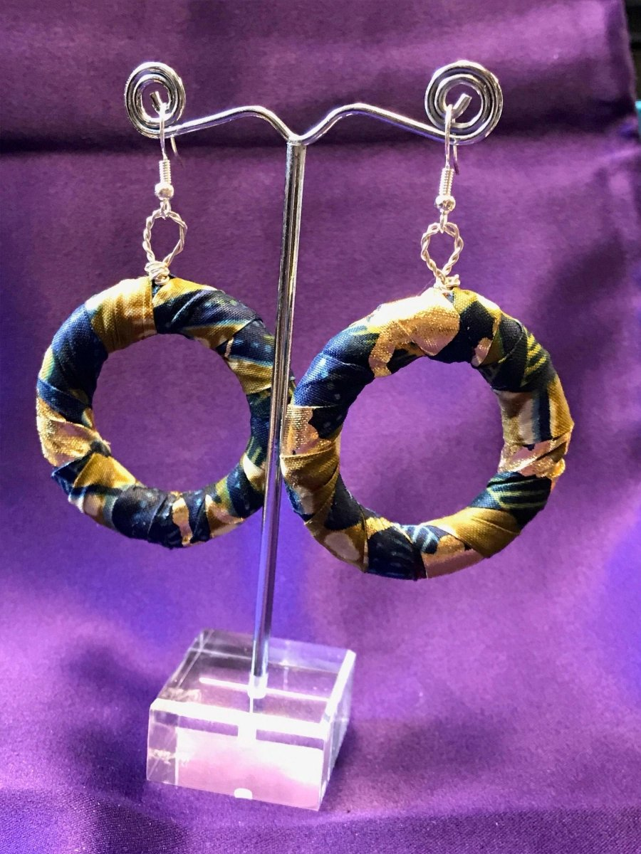 African Hoops in Black Ankara Print - Up cycled Zero Waste Earrings - Continent Clothing
