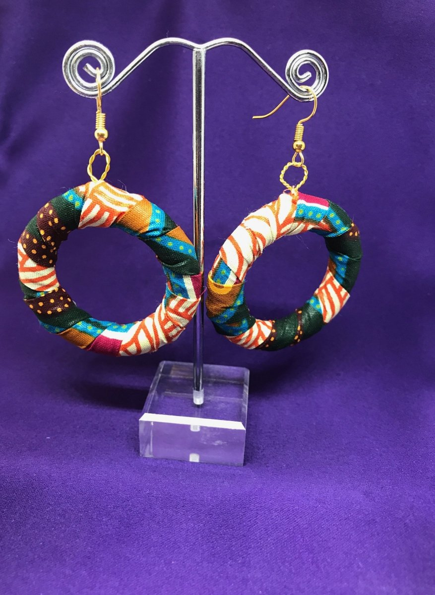 African Hoops in Black Dashiki Print - Up cycled Zero Waste Earrings - The Continent Clothing