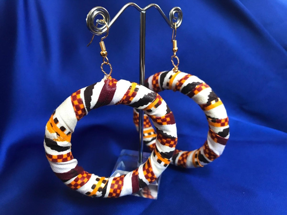African Hoops in Black Orange White Print - Up cycled Zero Waste Earrings - Continent Clothing
