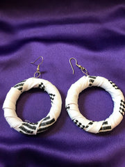 African Hoops in Black White Ankara Print - Up cycled Zero Waste Earrings - Continent Clothing
