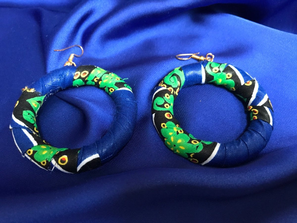 African Hoops in Blue Ankara Print - Up cycled Zero Waste Earrings - Continent Clothing