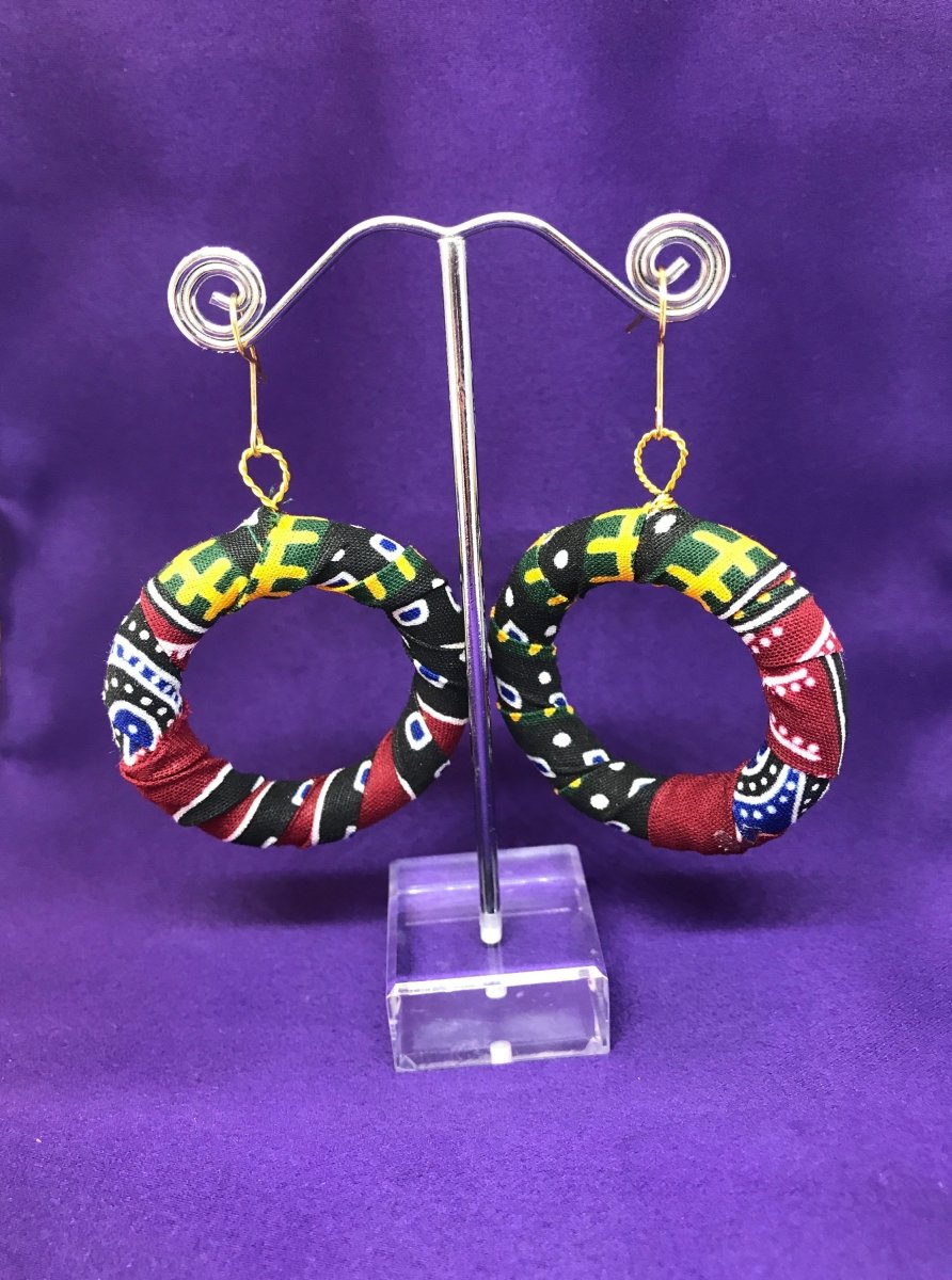 African Hoops in Blue Dashiki Print - Up cycled Zero Waste Earrings - The Continent Clothing