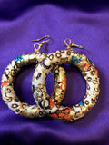 African Hoops in Gold Ankara Print - Up cycled Zero Waste Earrings - Continent Clothing