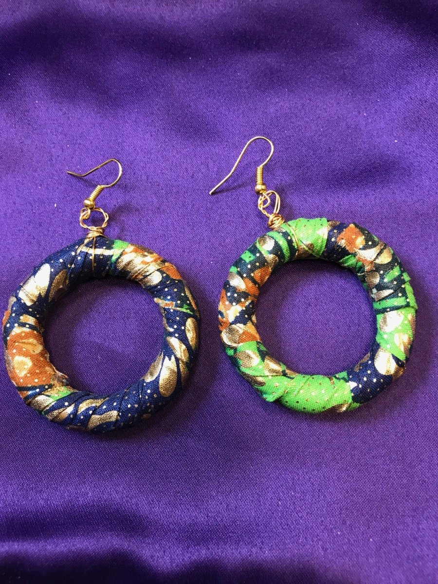 African Hoops in Gold Green Ankara Print - Up cycled Zero Waste Earrings - The Continent Clothing