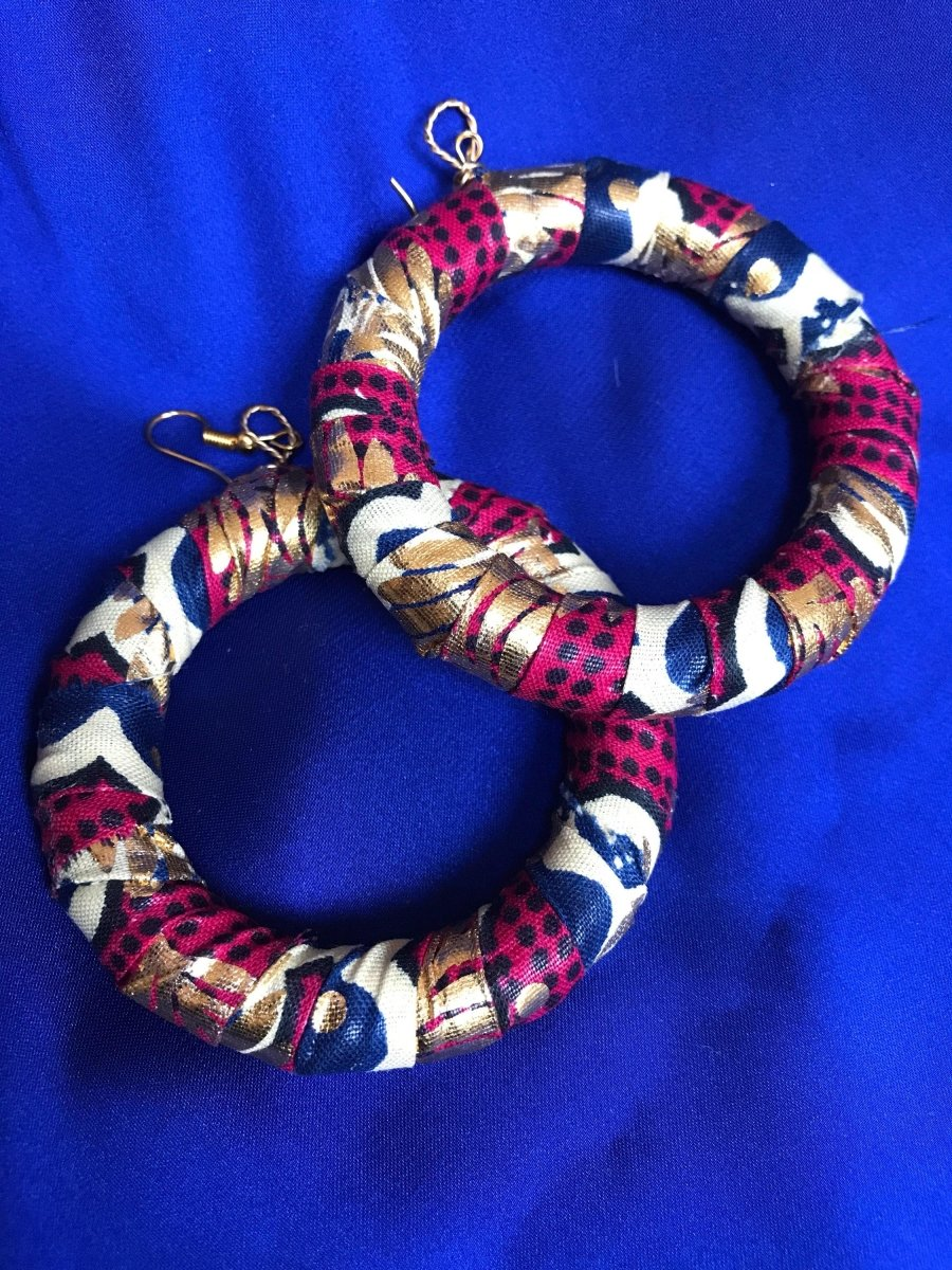 African Hoops in Gold Red Ankara Print - Up cycled Zero Waste Earrings - Continent Clothing