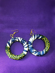 African Hoops in Green Ankara Print - Up cycled Zero Waste Earrings - Continent Clothing