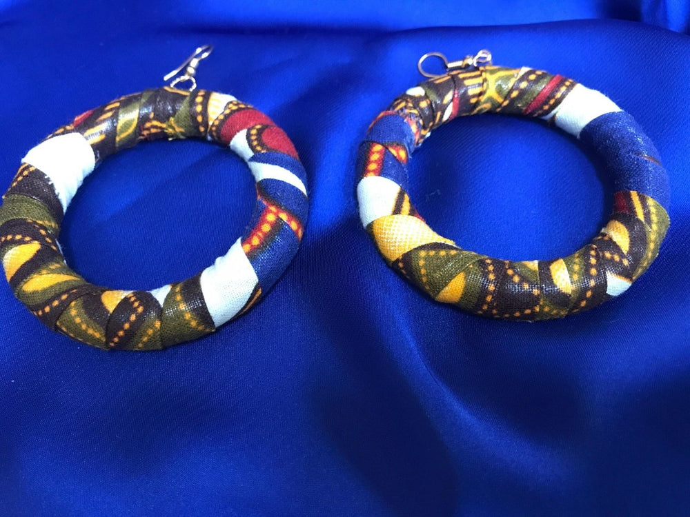 African Hoops in Purple Orange Ankara Print - Up cycled Zero Waste Earrings - Continent Clothing