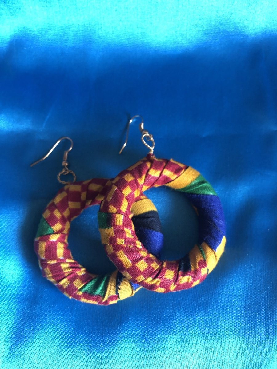 African Hoops in Red Ankara Print - Up cycled Zero Waste Earrings - Continent Clothing