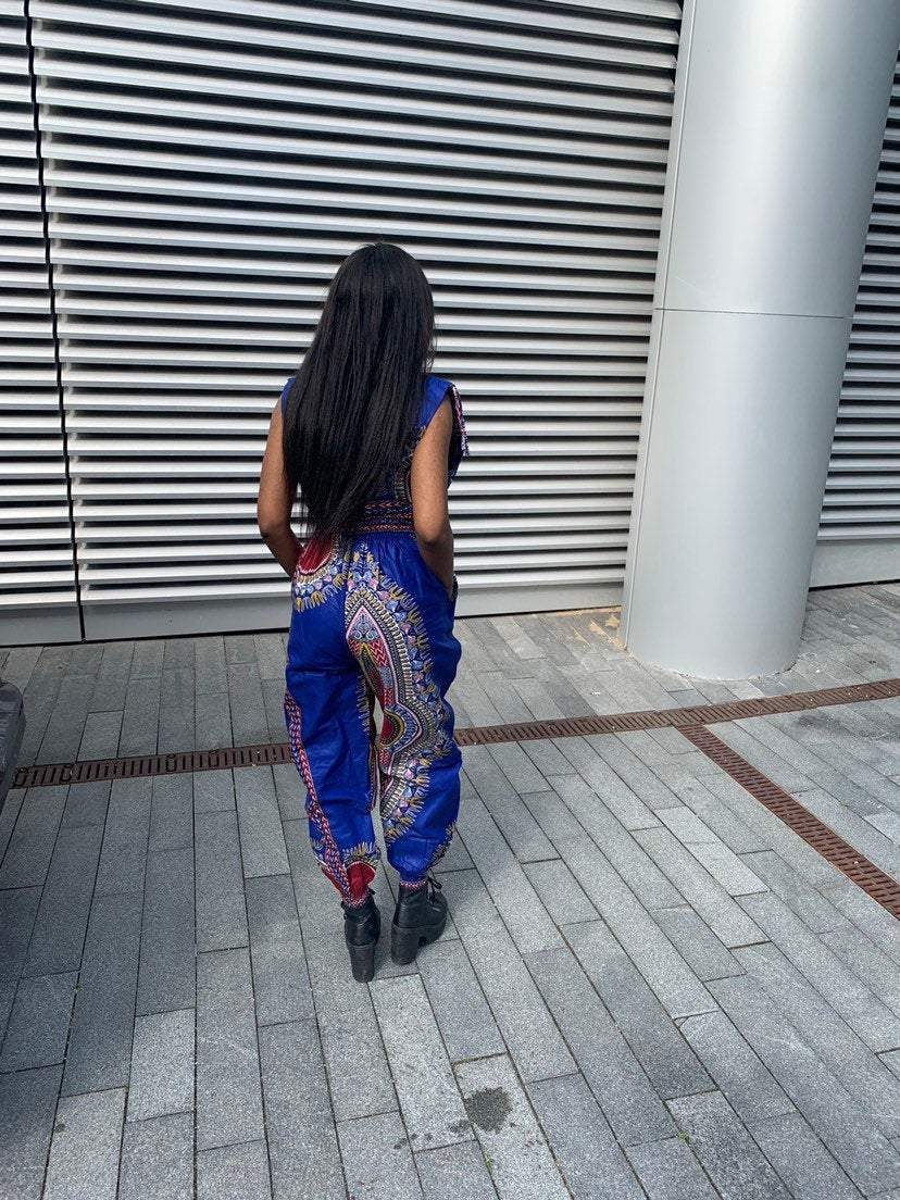 African Jumpsuit in Blue Dashiki - The Continent Clothing