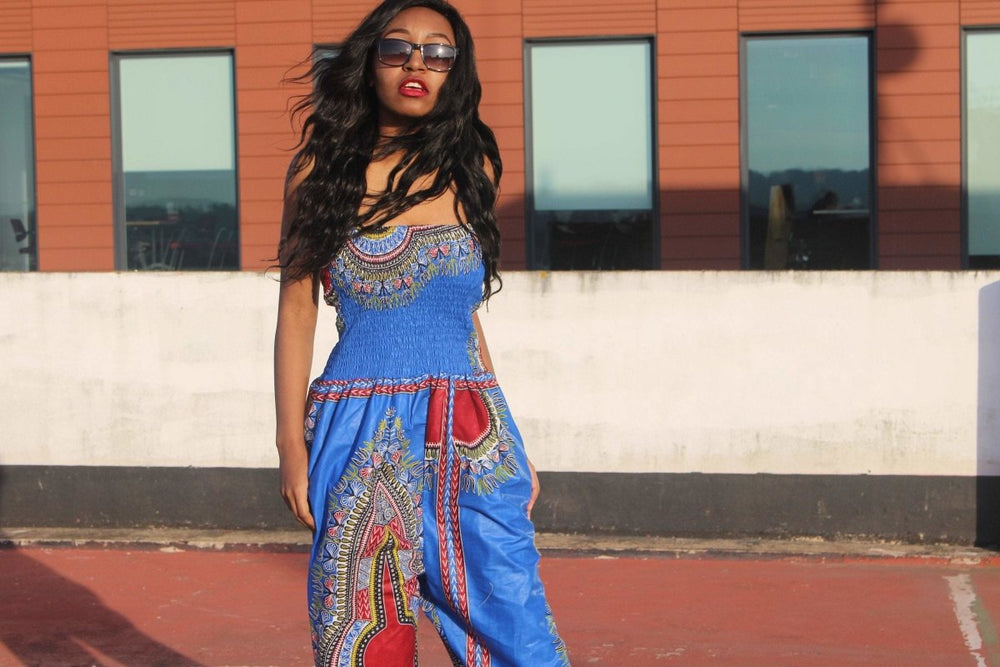 African Jumpsuit in Blue Dashiki Print - The Continent Clothing