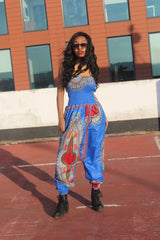 African Jumpsuit in Blue Dashiki Print - Continent Clothing
