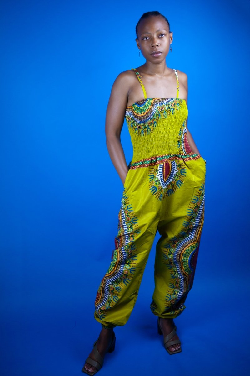 African Jumpsuit in Brown Dashiki Print - The Continent Clothing