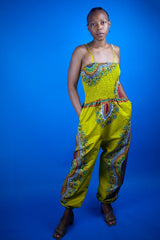 African Jumpsuit in Brown Dashiki Print - Continent Clothing