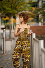 African Jumpsuit In Earthy Mud Cloth - Continent Clothing