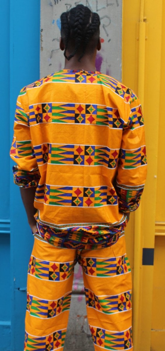 African Kente Suit in Orange Print - Aztec Festival Outfit - Continent Clothing