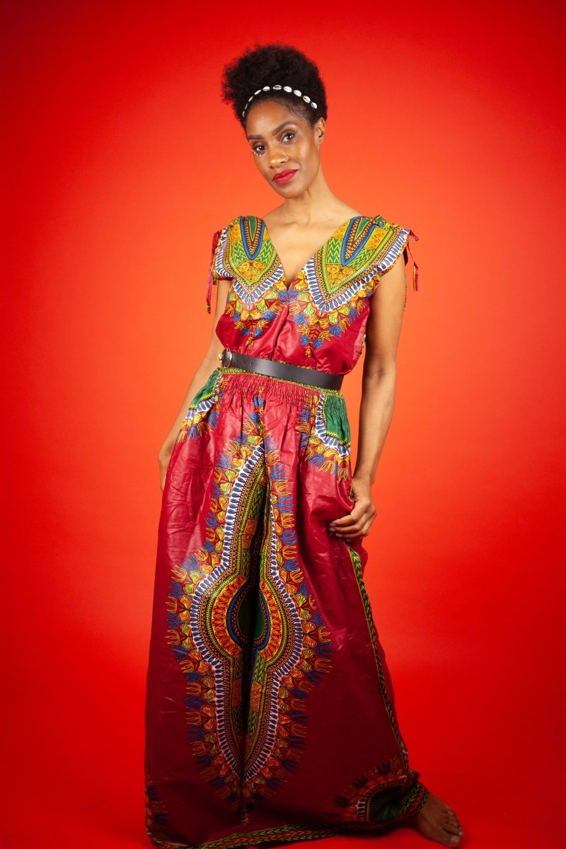 African Maxi Dress In Red Dashiki - The Continent Clothing