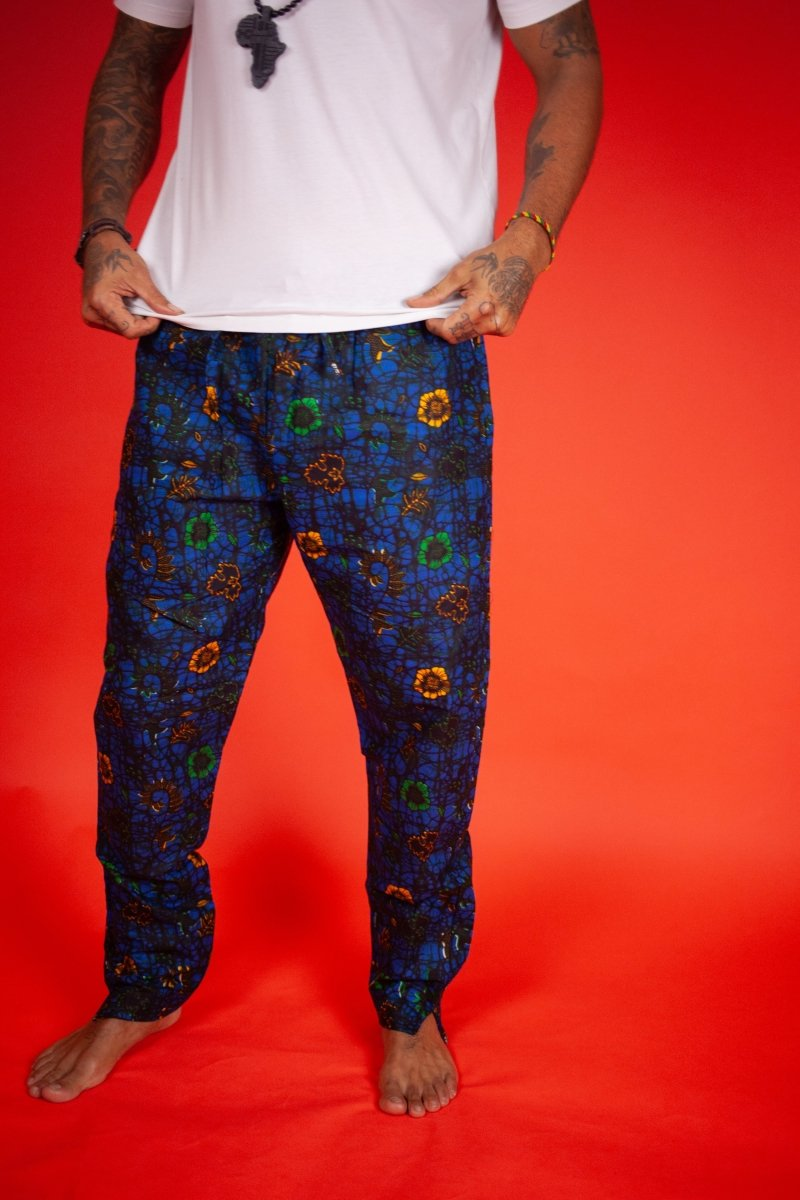 African Pants In Blue Ankara - Continent Clothing