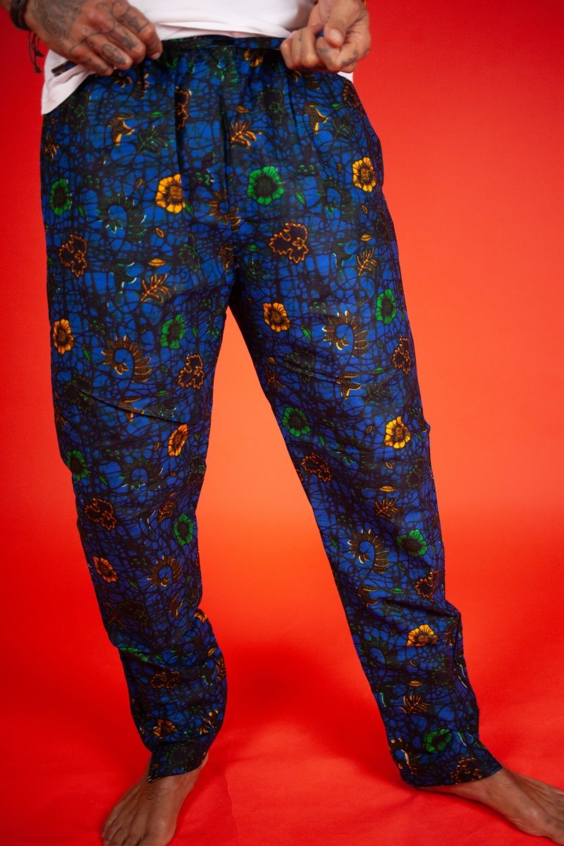 African Pants In Blue Ankara - The Continent Clothing