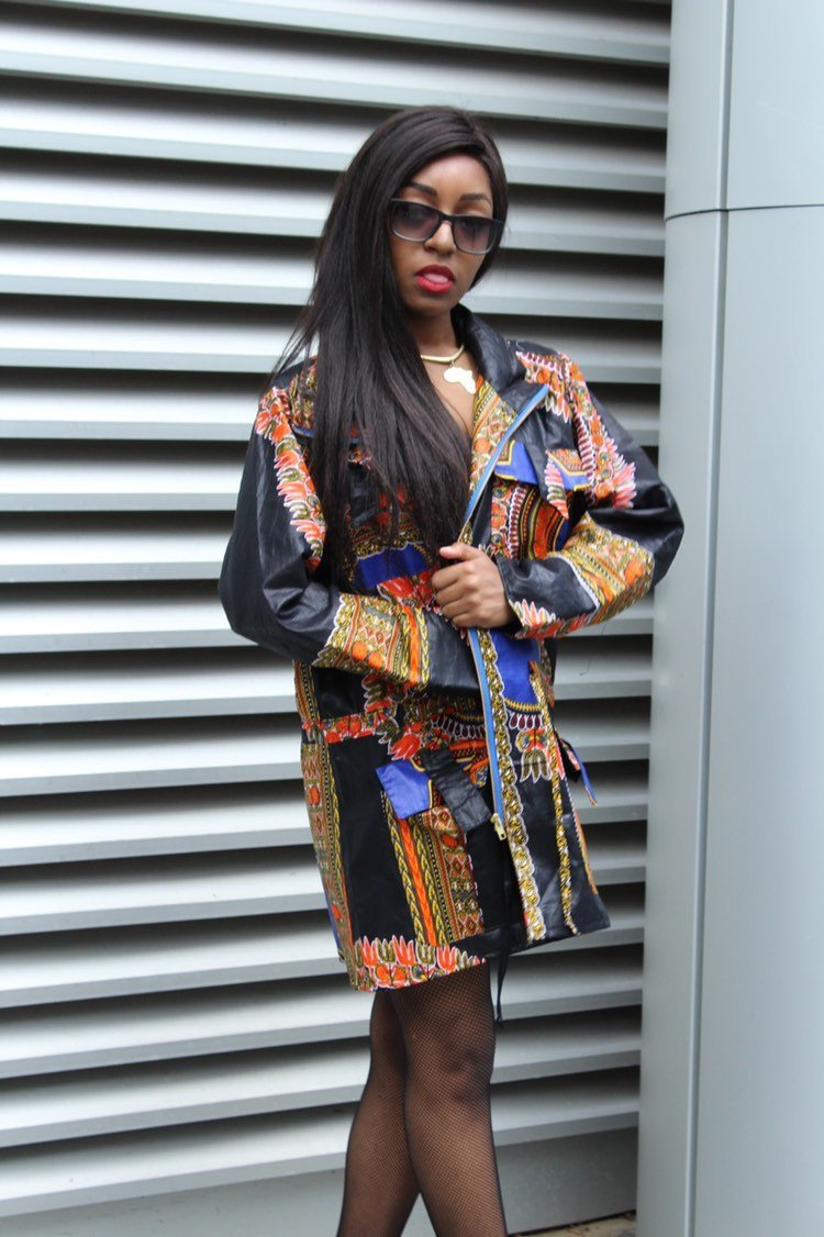 African Peacoat in Black Dashiki Print - Continent Clothing