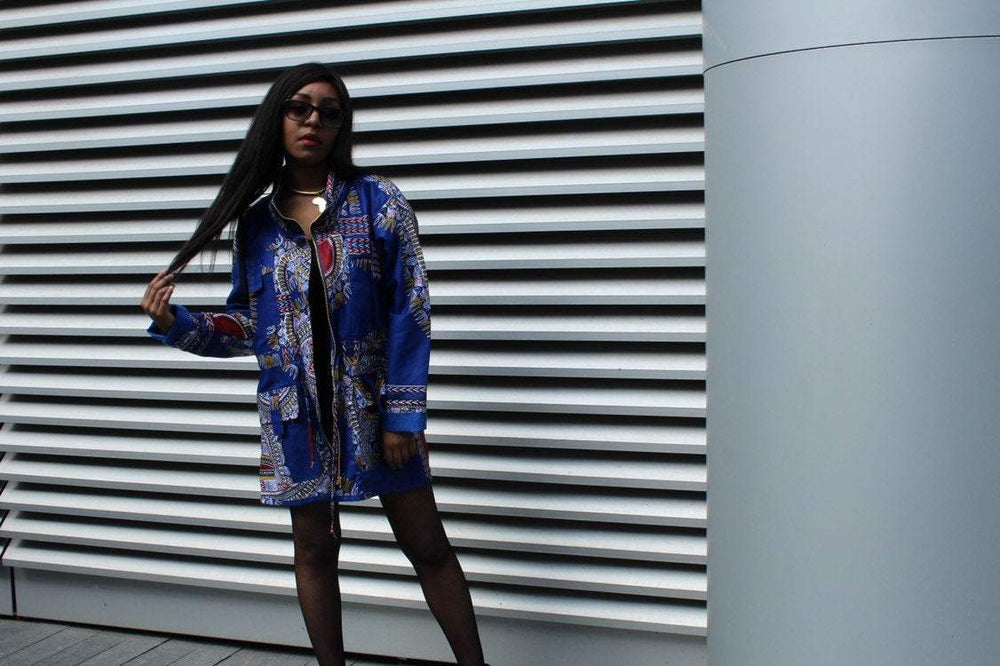 African Peacoat in Bue Dashiki - Continent Clothing