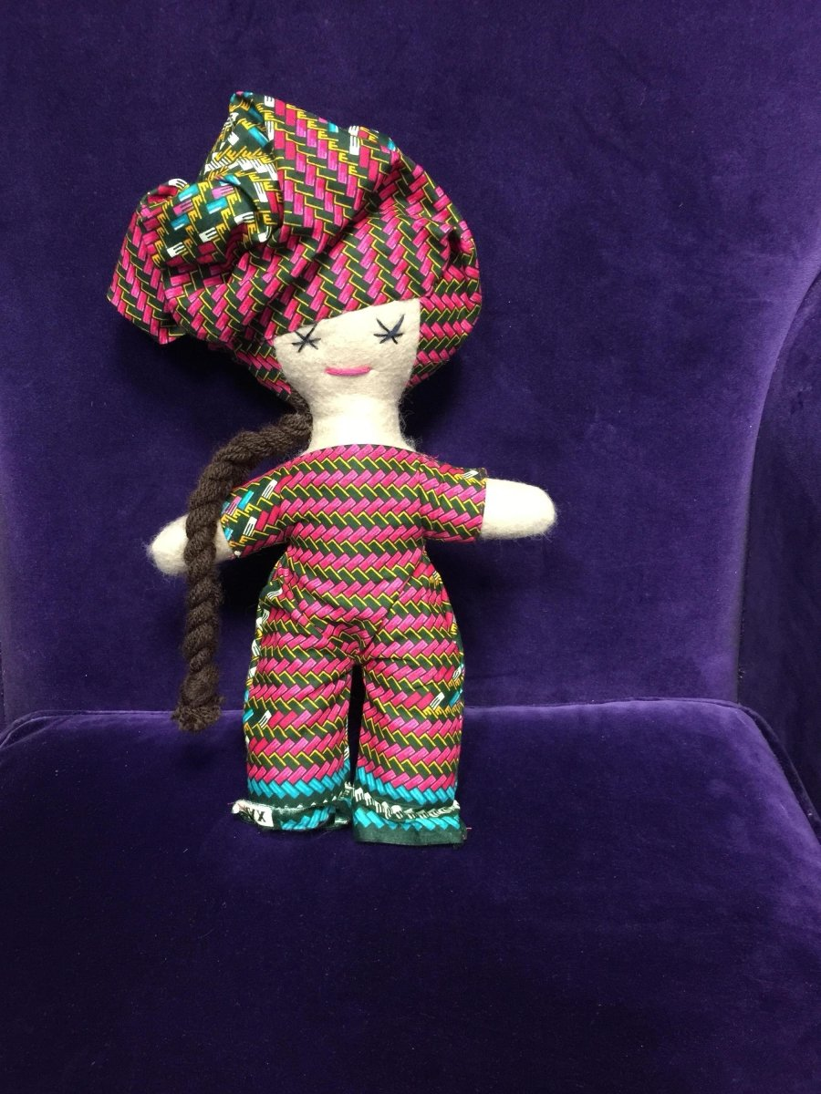 African Print Doll mad using Ankara Offcuts - Continent Clothing