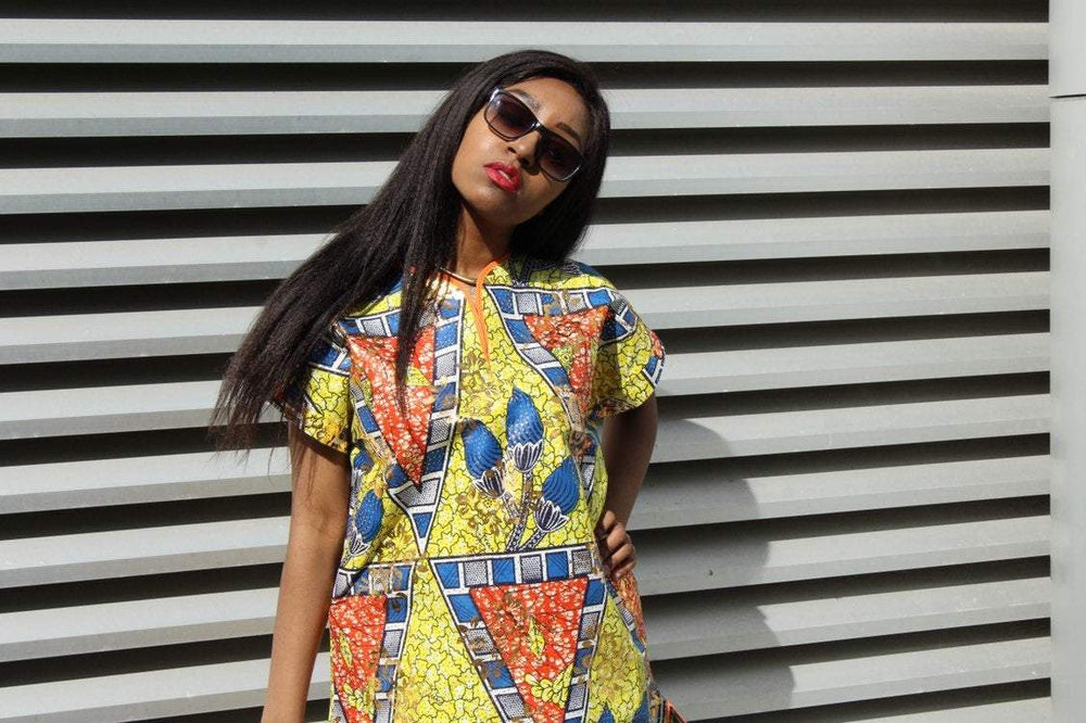 African Print Dress - gold festival dress - Continent Clothing