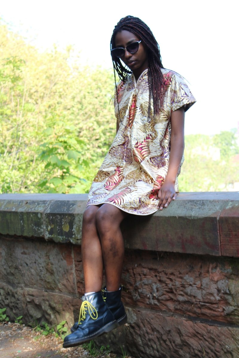 African Print Dress in Gold Ankara Print - Continent Clothing