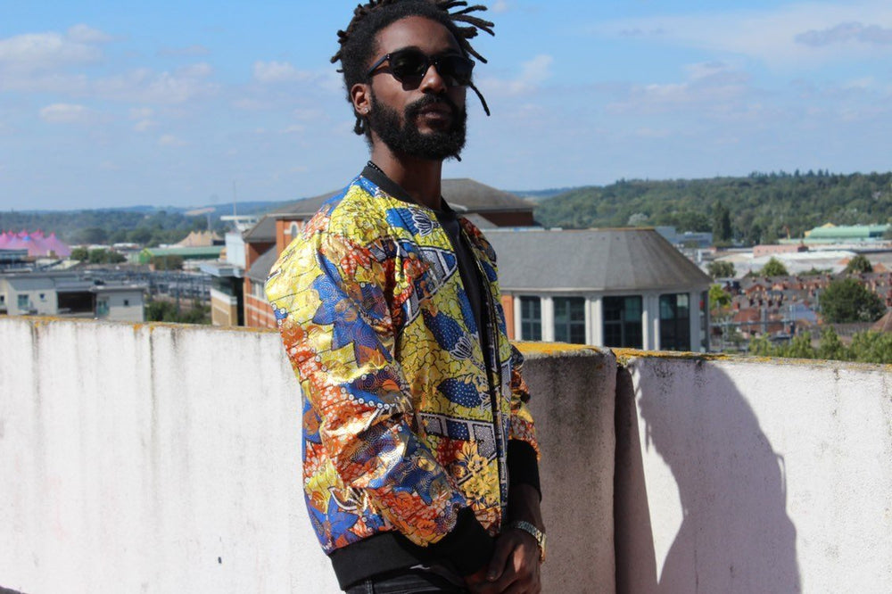 African Print Jacket in Gold Print, Perfect Festival Jacket - Continent Clothing