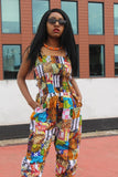 African Print Jumpsuit in Patchwork - Continent Clothing