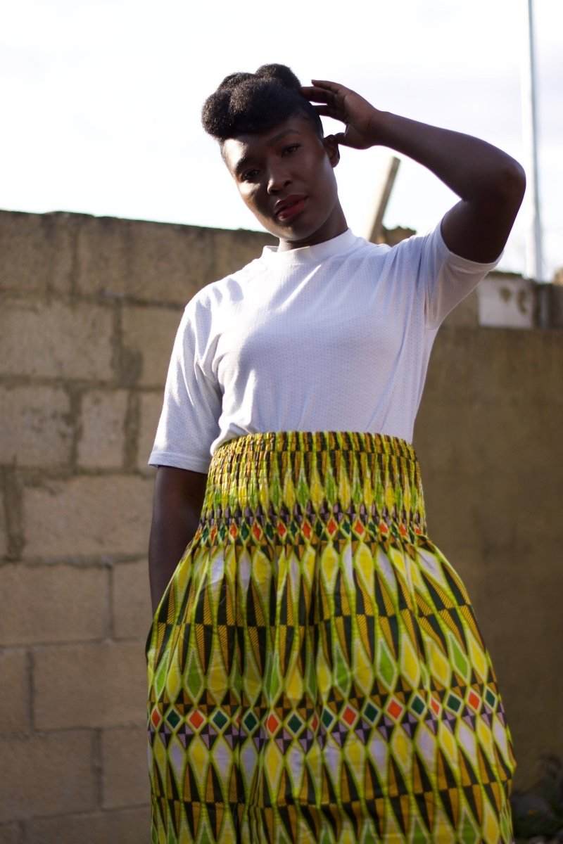 African Print Maxi Skirt in Yellow Ankara Print - Summer Skirt - Continent Clothing