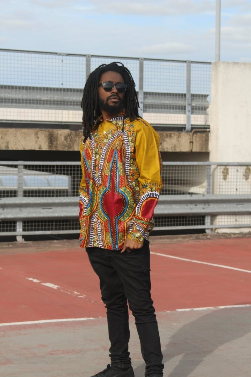African Print Shirt in Brown Dashiki - Festival Shirt - Continent Clothing