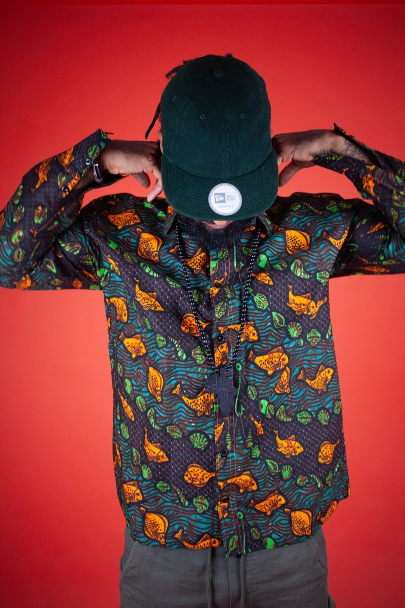 African Print Shirt In Fishy Green - The Continent Clothing